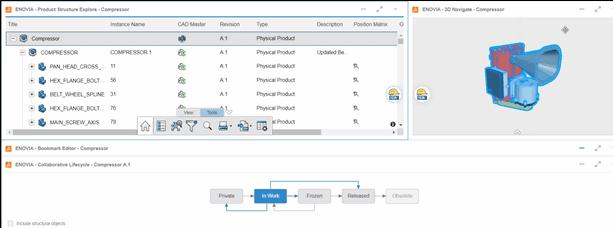 Screenshot: Arbeiten im Rahmen einer Änderungsaktion mit Creo Parametric Daten