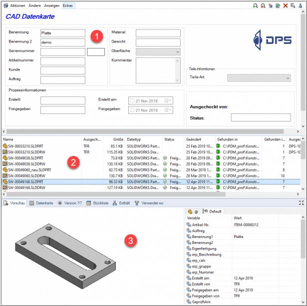 Bild 2: Suchen in SOLIDWORKS PDM - ganz einfach erklärt: CAD Datenkarte