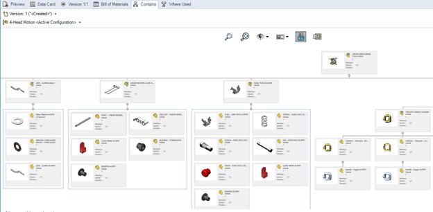 SOLIDWORKS PDM Screenshot: Stückliste
