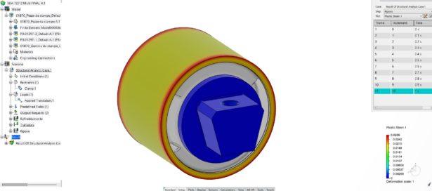 SIMULIAworks FEM: Abbildung 2:Dauerhafte Verformung nach der Phase der Durchmesserreduzierung