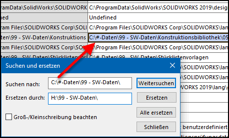 Dateipositionen in SOLIDWORKS bearbeiten