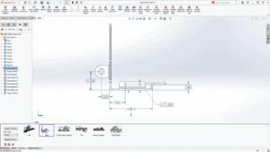 Bildschirmfoto eines Modells in SOLIDWORKS 2021 mit Maßen und 3D-Anmerkungswerkzeuge