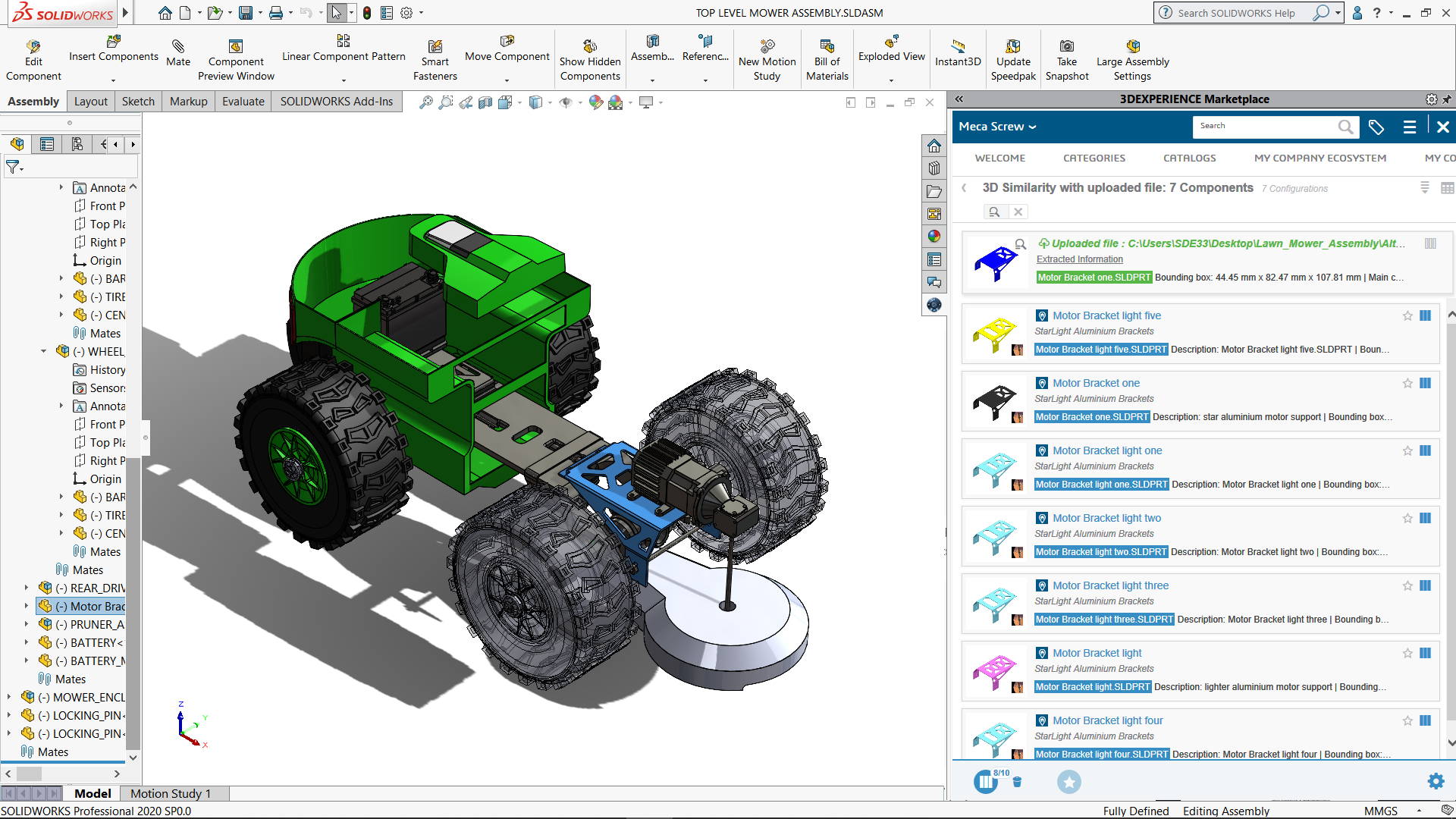 3DEXPERIENCE Marketplace PartSupply: Autobauteil in der Konstruktion mit Motorkomponente