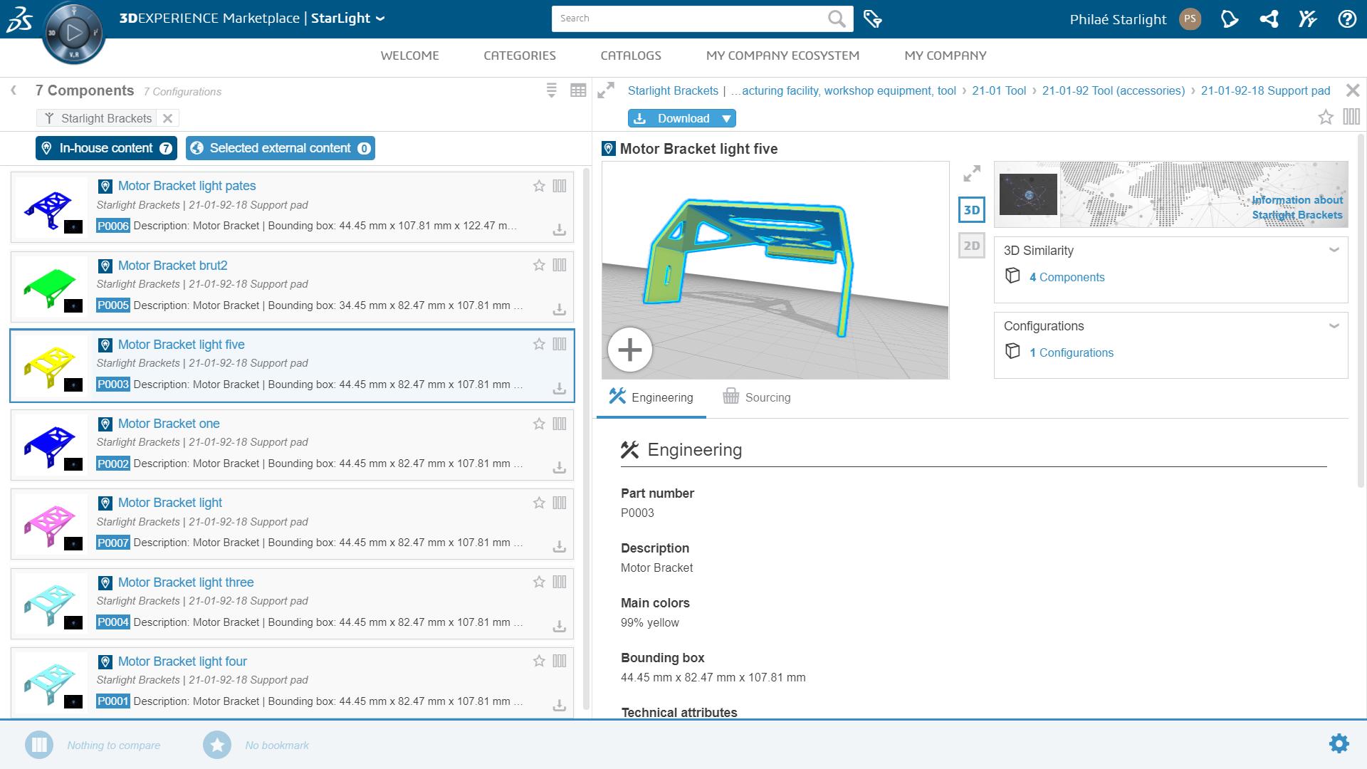 3DEXPERIENCE Marketplace PartSupply: Auswahl interner und externe Komponenten
