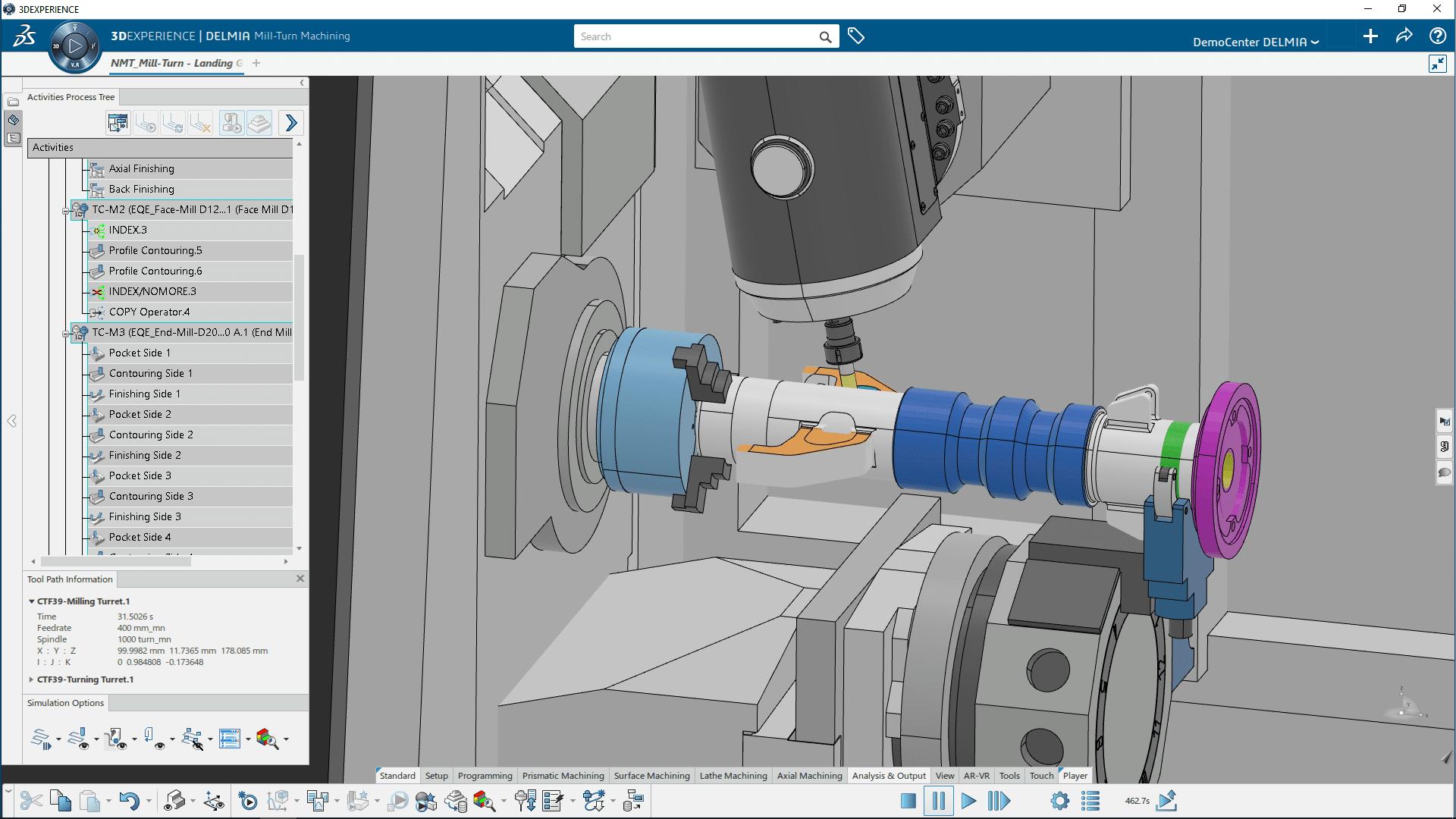 3DEXPERIENCE DELIMIA Mill-Turn Machining: Bauteilsimulation