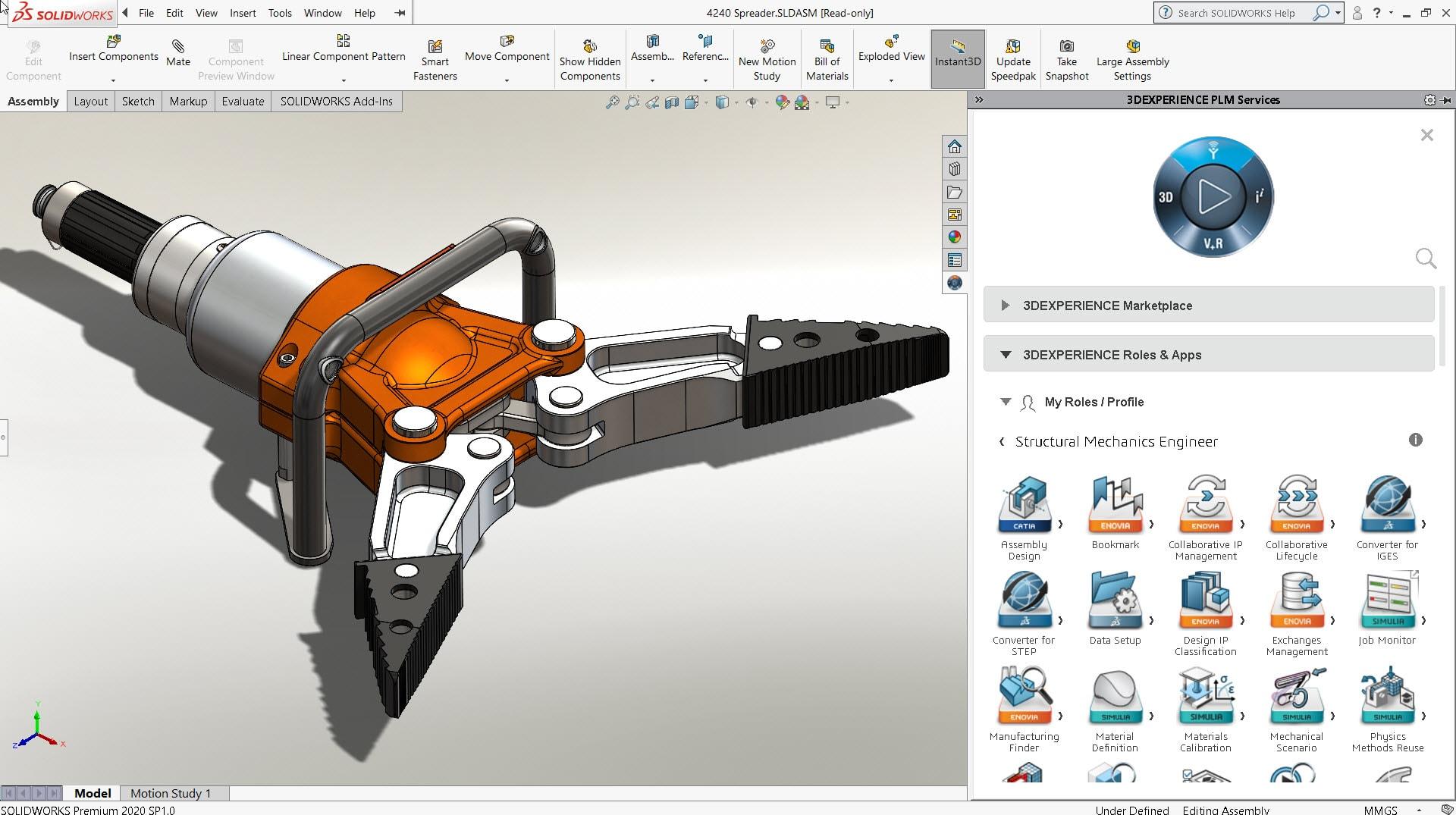 Das SOLIDWORKS Baugruppenmodell des Verteilers öffnet sich automatisch in Structural Mechanics Engineer über den 3DEXPERIENCE Kompass, der in der SOLIDWORKS Benutzeroberfläche verfügbar ist.