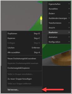 SOLIDWORKS Visualize: Teil trennen