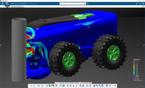 3DEXPERIENCE Works Simulation: Aufprallsimulation eines Mähers in eine Barriere