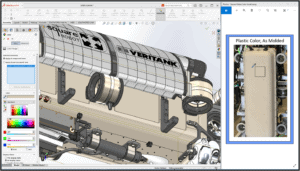 Bildschirmfoto eines Modells in der SOLIDWORKS 2021 Software und Beispiel für Farbwähler aus externer Quelle