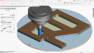 Bildschirmfoto von SOLIDWORKS CAM 2021 mit erweiterten Rohmaterialien und verbesserten Bohrvorgängen