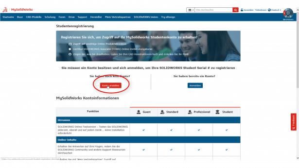 Schritt 2 b: MySolidWorks für Studenten – Wie registriere ich mich?