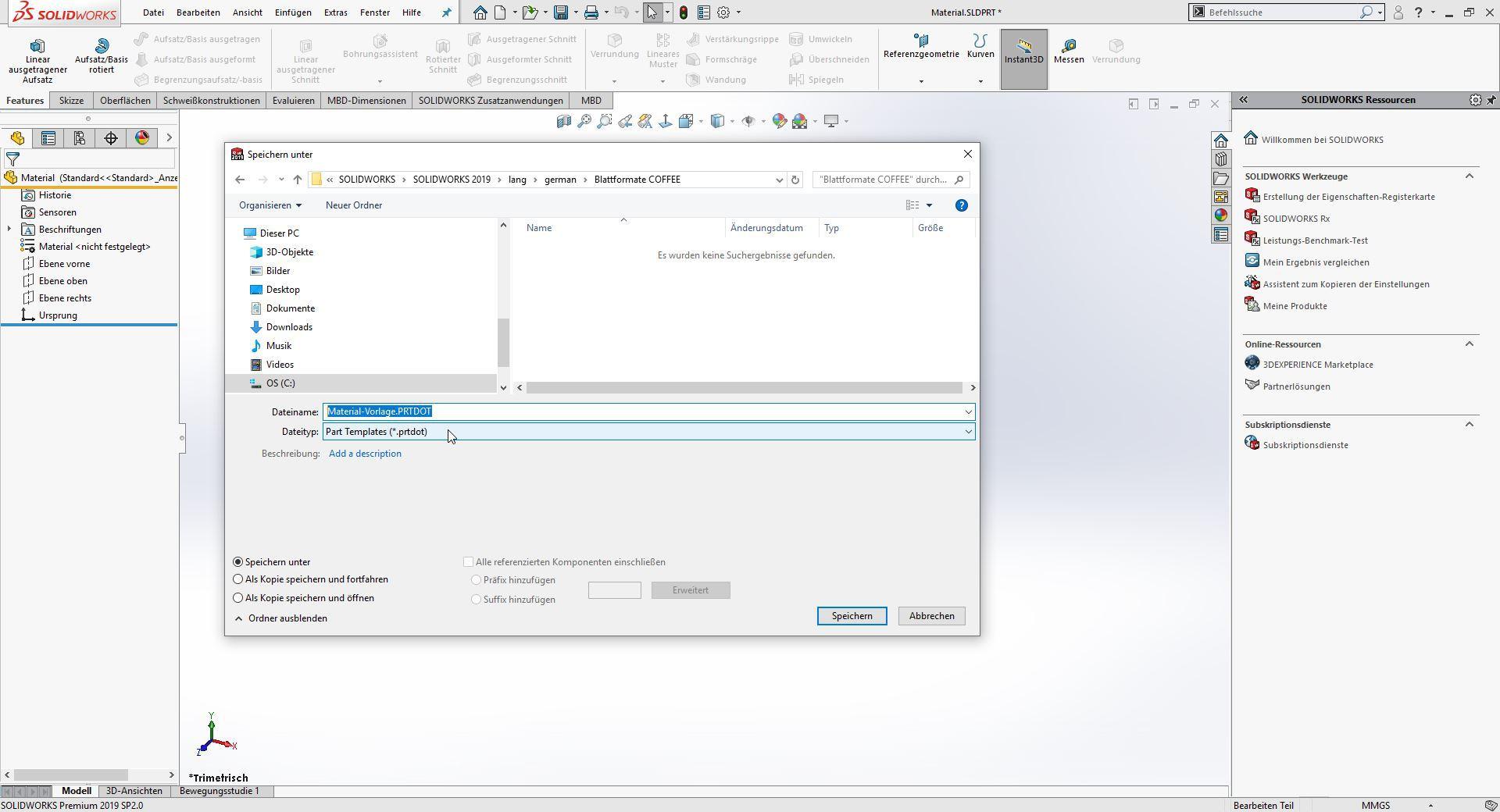 SOLIDWORKS Dokumentenvorlage speichern Schritt 2