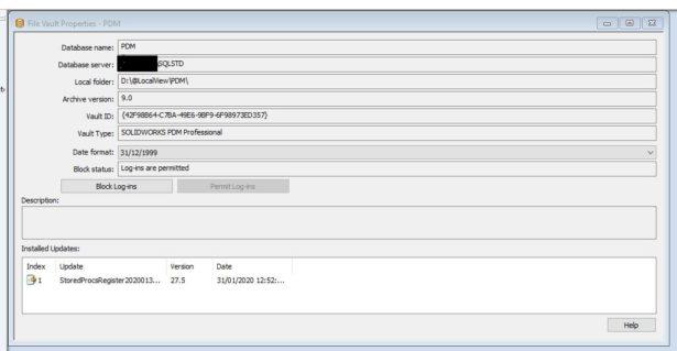 Eigenschaften des PDM Servers