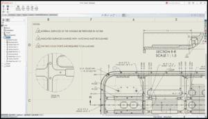 Bildschirmfoto von einem Ausschnitt eines Bauteils mit Beschriftungen im des SOLIDWORKS 2021 Detaillierungsmodus für Zeichnungen