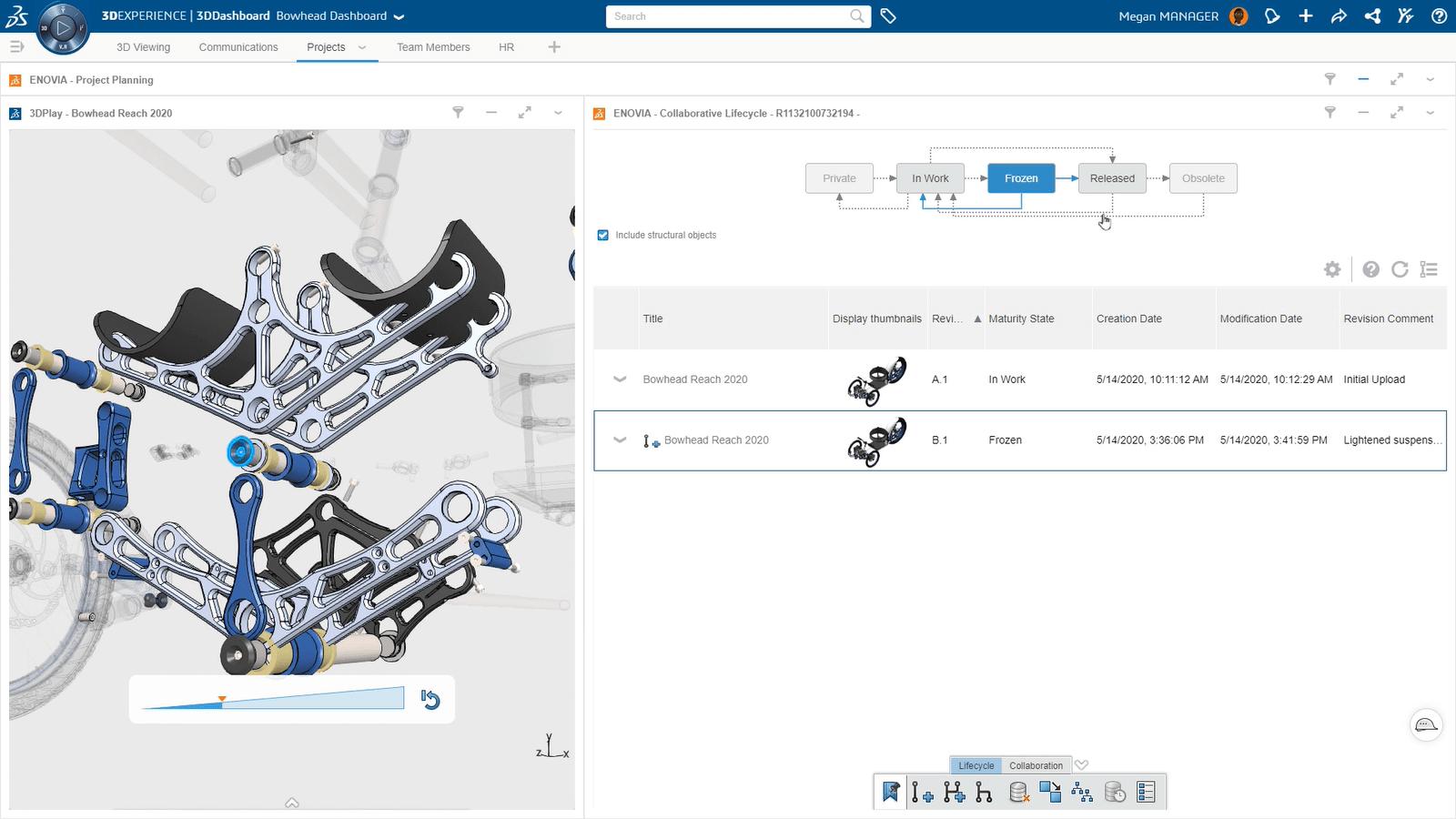 3DEXPERIENCE Bowhead Dashboard: Screenshot Bauteil