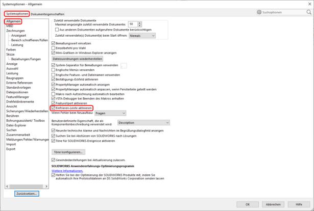 "Screenshot ""Einfrieren-Leiste aktivieren"""