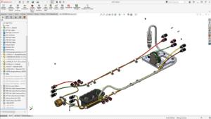 Bildschirmfoto mit 3D Modell aus Bauteilen, Kabeln und Kabelkanälen