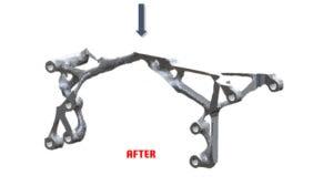 Ergebnis der Topologieoptimierung: Einsparung des Materials ohne Verlust der Funktion
