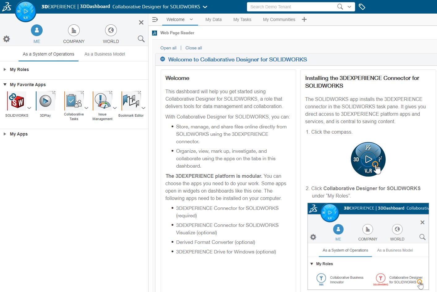 Screenshot vom Dashboard des Collaborative Designer for SOLIDWORKS