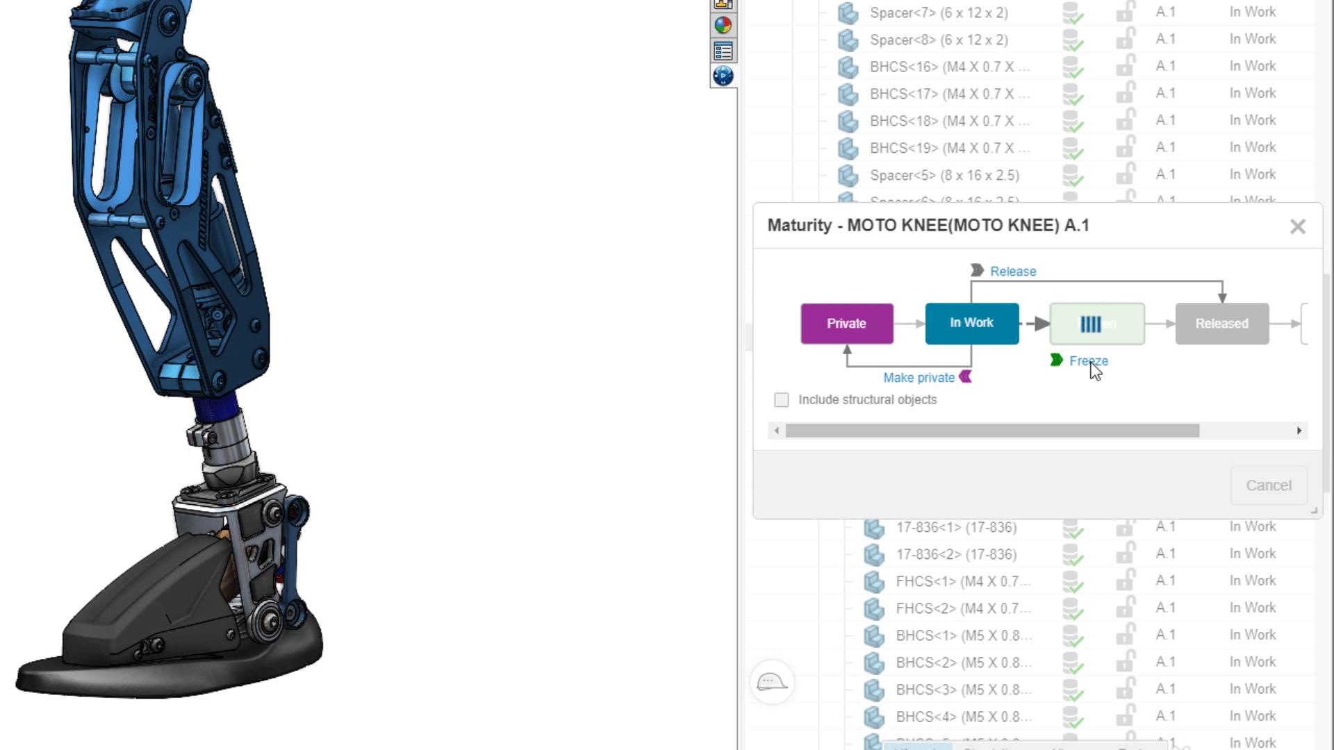 Screenshot eines Bauteils mit Lebenszyklusvorgängen