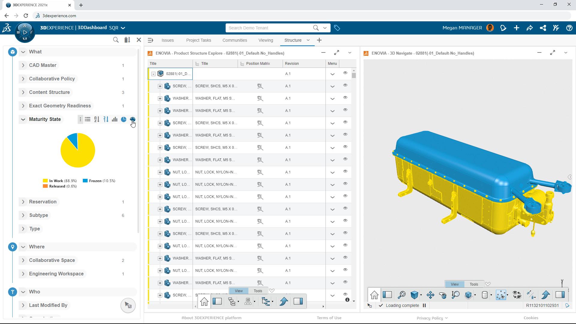 Screenshot des 3DEXPERIENCE Dashboards mit einem Bauteil und verschiedenen Revisionen