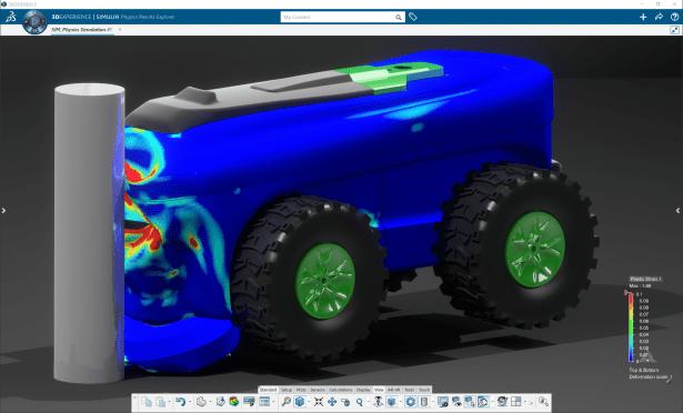 Ergebnisse einer Aufprallsimulation, die in der Cloud mit Abaqus in 3DEXPERIENCE Works Simulation gelöst wurde.