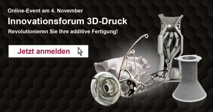 Innovationsforum 3D-Druck: Online-Event am 4. November 2020