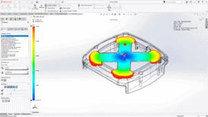 Bildschirmfoto mit Modell als Beispiel für verbesserte Kunststoffsimulation mit neuen Materialen