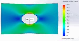 Von-Mises-Spannung mit Volumenvernetzung