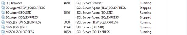 Liste der SQL Server Details