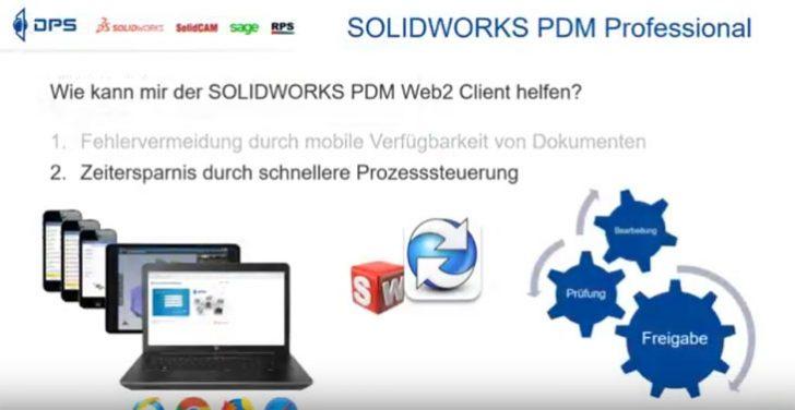 "Video-Tipp! SOLIDWORKS PDM Dokumente ""to go"" go – Mobil verfügbar mit dem Web2 Client"