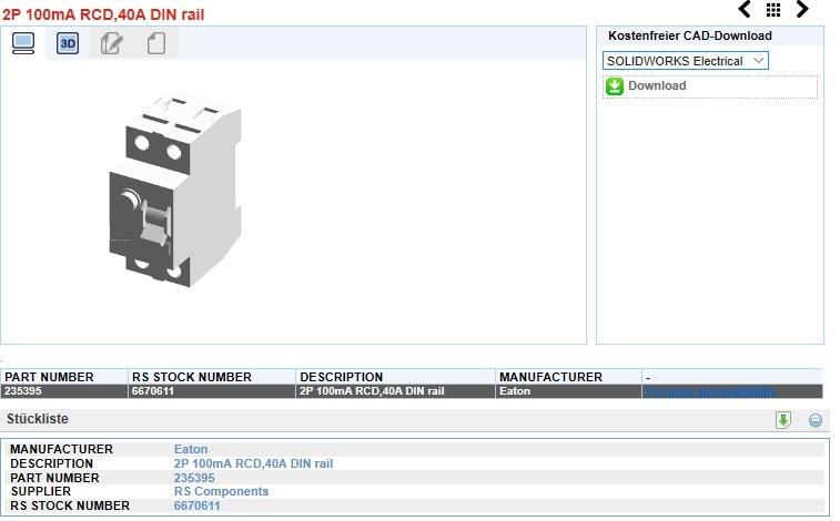 SolidLine Artikeldaten Electrical Content Portal herunterladen