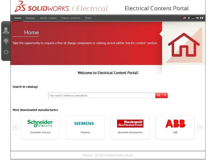 Willkommensbildschirm Electrical Content Portal