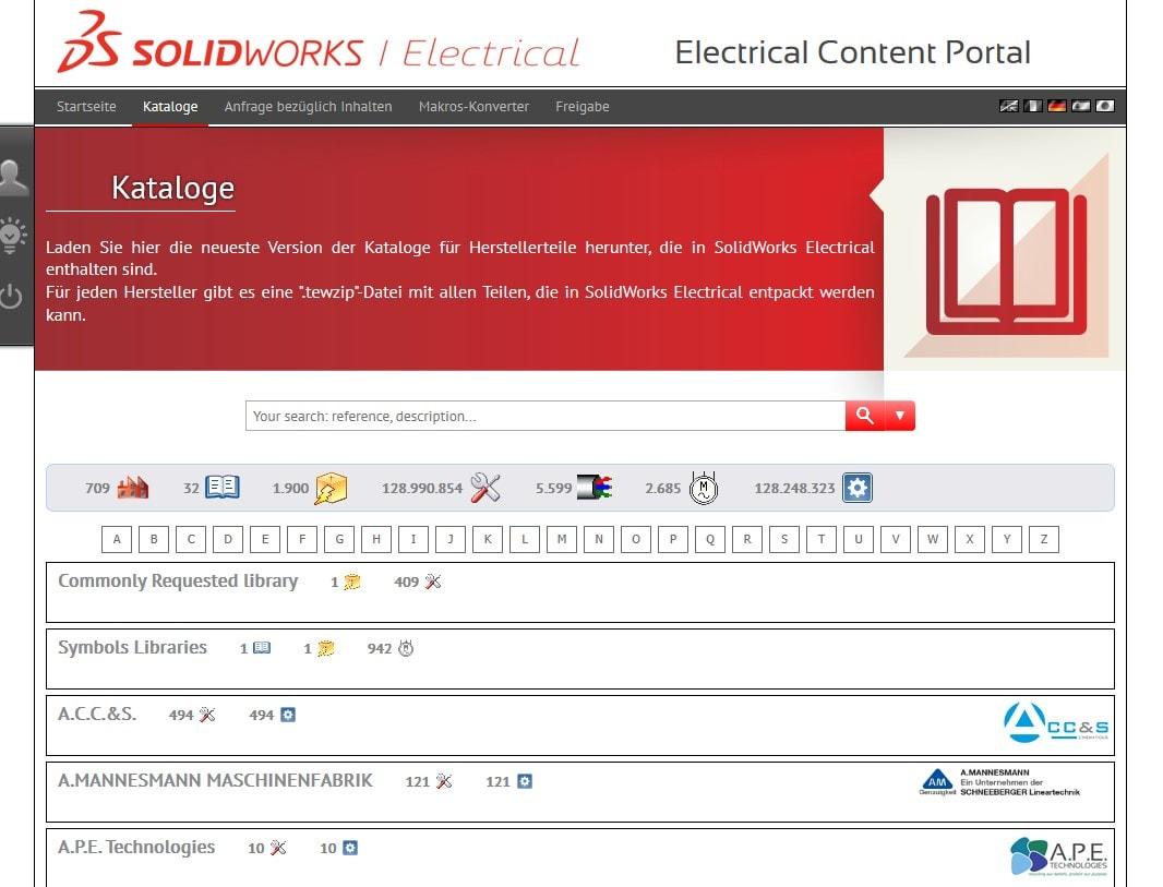 Kataloge im Electrical Content Portal