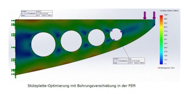 Stützplatte-Optimierung mithilfe der FEM Analyse