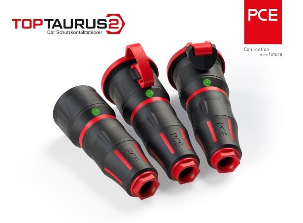 Abbildung des TOPTAURUS 2 Schutzkontaktsteckers mit leuchtenden LEDs von PC Electric