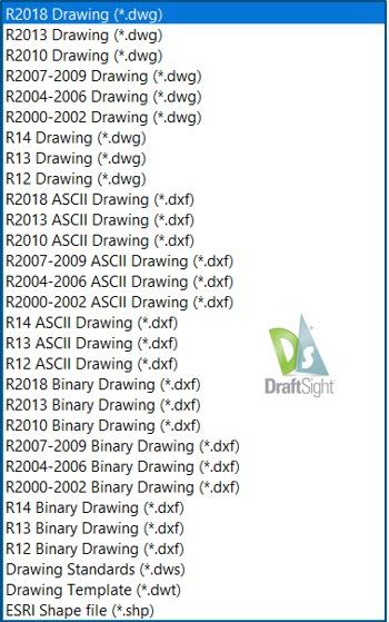 Liste aller unterstützten Dateiformate in DraftSight