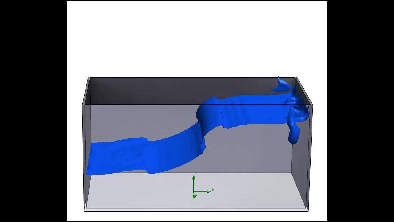 Die Bewegung eines Behälters (Schwappen) wird über einen zeitlich variablen Schwerkraftfaktor erstellt