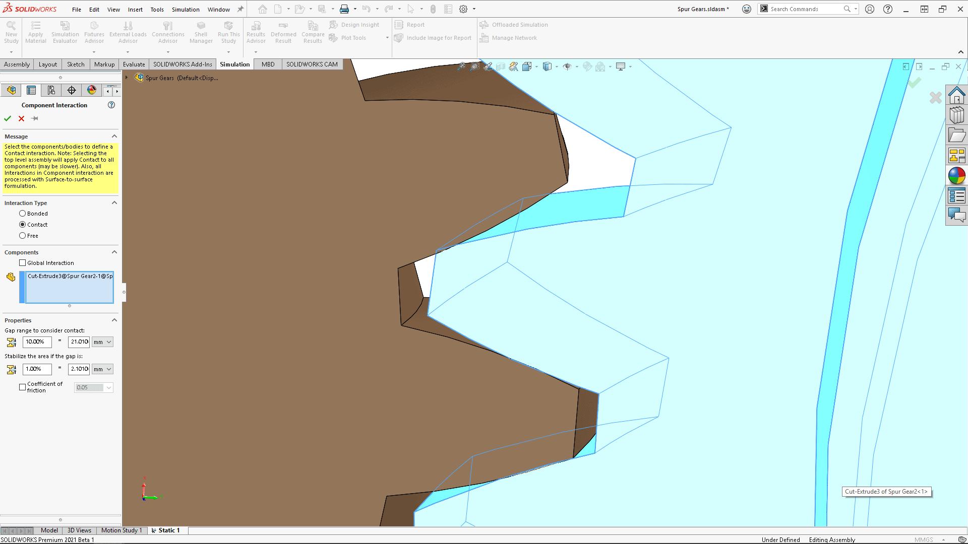 SOLIDWORKS Simulation 2021 Screenshot von Kontaktmodell mit anfänglichem Abstand
