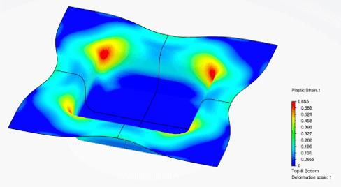 Abbildung 2: Allgemeiner Entwicklungsprozess mit Hilfe von Simulationen - Abbildung 3: Ergebnis (plastische Dehnung) einer Tiefziehsimulation