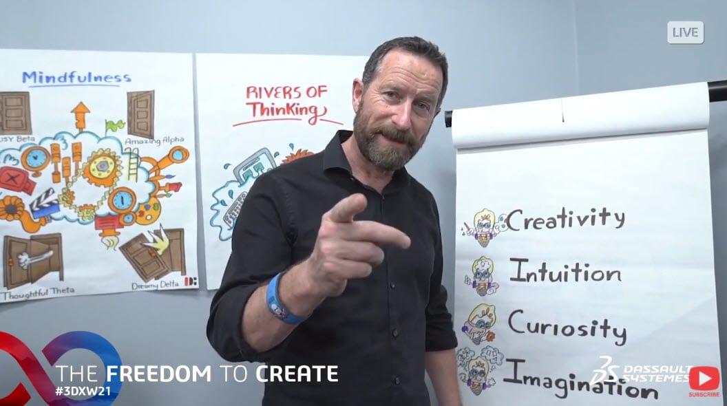 Screenshot eines Youtube Videos von Duncan Wardle für die 3DEXPERIENCE World 2021 mit Flipchart