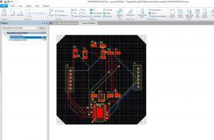 Fertig geroutete Leiterplatte in SOLIDWORKS PCB