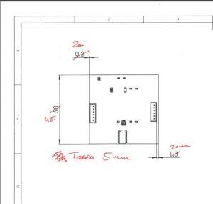 Handschriftliche Änderungen des Konstrukteurs an der Leiterplatte