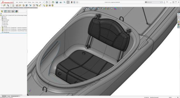 Screenshot SOLIDWORKS Cockpit des Kayak Innovations Kajak