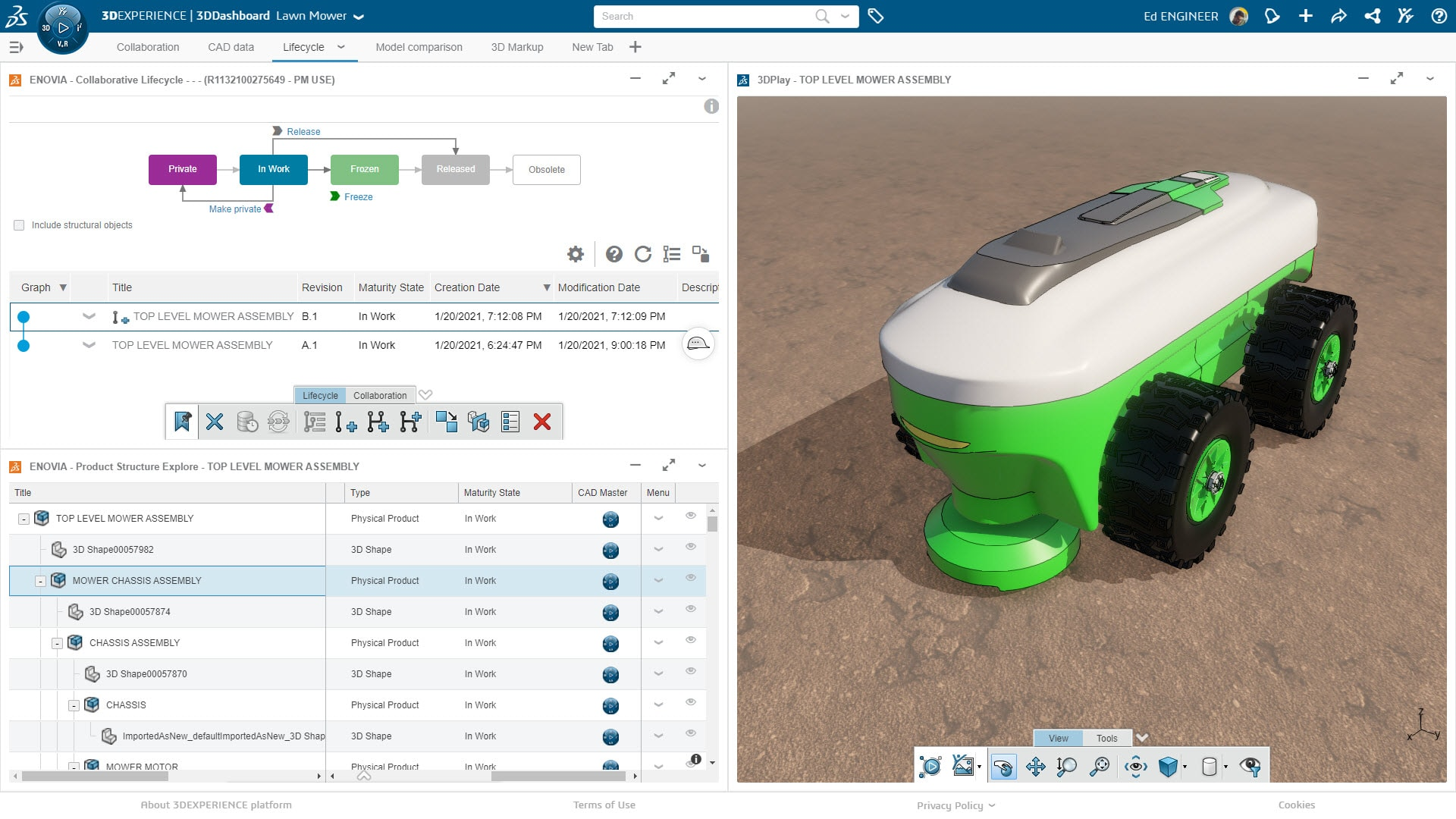Die 3DEXPERIENCE Plattform erleichtert die Kommunikation im Team und mit Stakeholdern durch transparente Prozesse.