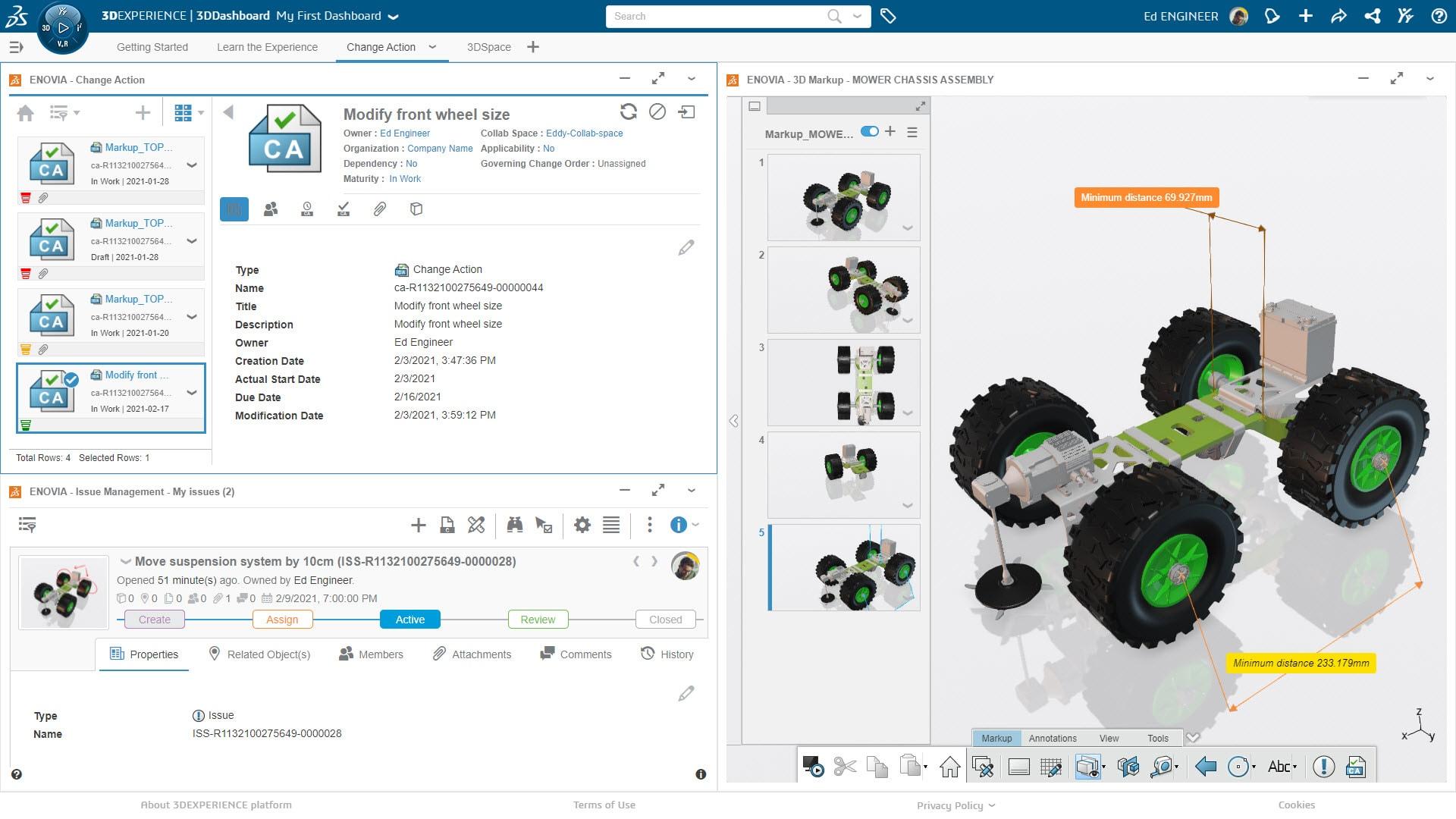 Erreichen Sie eine einfache Zusammenarbeit über das integrierte Datenmanagementder 3DEXPERIENCE Plattform.