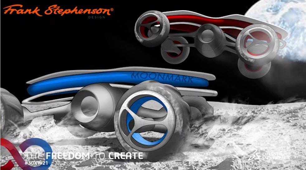 Frank Stephensons Simulation von Fahrzeugen auf dem Mond auf der 3DEXPERIENCE World 2021