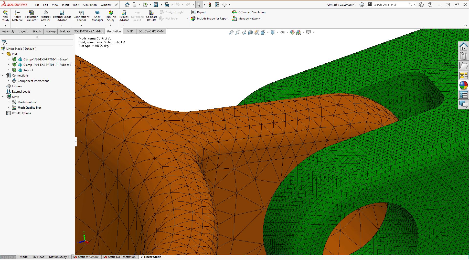 Screenshot: Keine erzwungenen gemeinsamen Knoten - Volumenkörpervernetzung