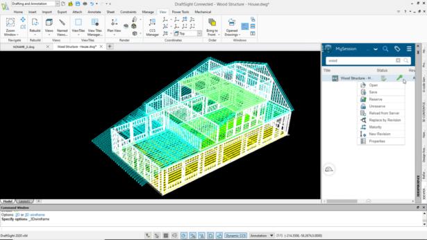 Abbildung 3: Ein- und Auschecken einer Zeichnung in 3DEXPERIENCE DraftSight