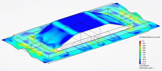 Umformsimulationen mit einem expliziten Solver - Abbildung 1: Umformung einer Klappe in ein Blechteil